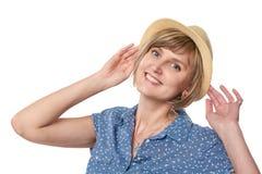 Smiling woman wearing summer straw fedora hat Royalty Free Stock Photo
