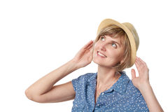 Smiling woman wearing summer straw fedora hat Stock Photos