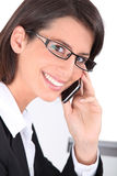 Smiling woman wearing trendy glasses Stock Photos