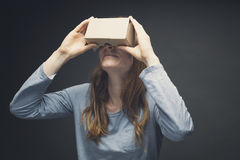 Smiling Woman Wearing VR Goggles Royalty Free Stock Image