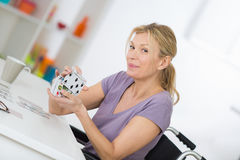 Smiling woman in wheelchair Royalty Free Stock Images