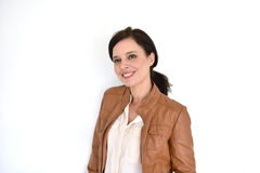 Smiling woman on white background Royalty Free Stock Images