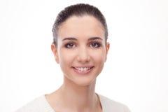 Smiling woman on white background Stock Photos
