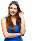 Smiling woman  white background. Stock Images