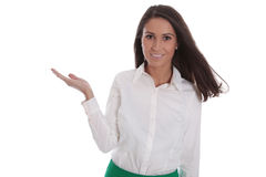 Smiling woman in white blouse and isolated over white holding he. Happy woman in white blouse and isolated over white holding her hand sideways to text Stock Photos