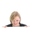 Smiling woman with a white board Stock Images