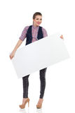 Smiling woman with a white placard Stock Photos