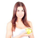 Smiling woman with white teeth holding apple. Healthy food. Royalty Free Stock Photography