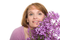 Smiling woman with wildflowers Stock Photos