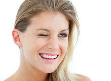 Smiling Woman winking Stock Photography