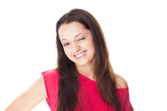 Smiling woman winks isolated on white Stock Images