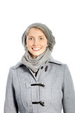 Smiling woman in a winter ensemble Stock Photo