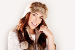 Smiling Woman In Winter Fur Hat Royalty Free Stock Image