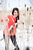 Smiling woman winter outdoors portrait Stock Images