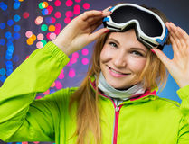 Smiling woman in winterwear stock images
