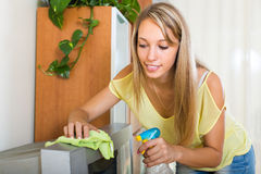 Smiling woman  wiping the dust on TV Royalty Free Stock Images