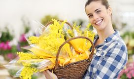 Free Smiling Woman With Basket Of Mimosa Spring Flowers, 8 March Women`s Day Concept Royalty Free Stock Images - 139651789
