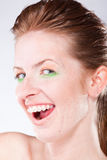 Smiling Woman With Braces On Teeth Stock Image