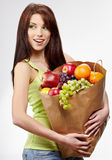 Smiling Woman With Fruits And Vegetables. Stock Photos