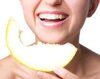 Smiling Woman With Melon Royalty Free Stock Photos