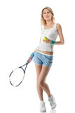 Smiling Woman With Tennis Racket Isolated Stock Photo