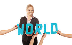 Smiling woman with the word WORLD Stock Images