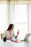 Smiling woman working on phone in the modern spacious office Stock Photography
