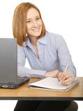 Smiling Woman Writing Stock Images