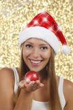 Smiling woman with xmas gifts Stock Photos