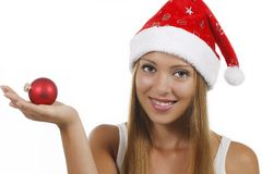 Smiling woman with xmas hat Stock Photography