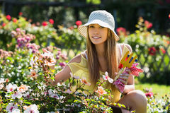 Smiling woman in yard gardening Stock Photography