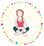 Smiling woman in yoga relax. Relaxing yoga for a smiling blond woman, in a colorful rainbow circle Stock Images
