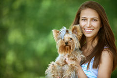 Smiling woman with Yorkshire Royalty Free Stock Photo
