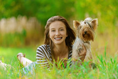 Smiling woman with Yorkshire Royalty Free Stock Image