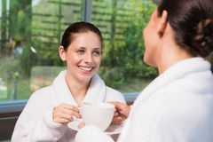 Smiling women in bathrobes having tea. Two smiling young women in bathrobes having tea Royalty Free Stock Photography