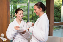 Smiling women in bathrobes having tea. Two smiling young women in bathrobes having tea Royalty Free Stock Images