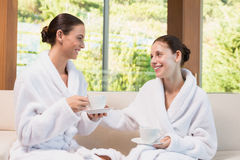 Smiling women in bathrobes having tea. Two smiling young women in bathrobes having tea Stock Photos