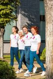 Smiling women with breast cancer awareness ribbons holding hands and walking. Together royalty free stock photos