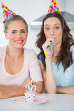 Smiling women celebrating birthday Royalty Free Stock Photo