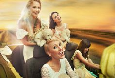 Smiling women driving a car Royalty Free Stock Images