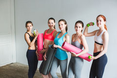 Smiling women in fitness studio. Stock Image