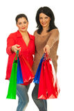 Smiling women giving shopping bags Royalty Free Stock Image
