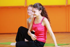 Smiling women in gym Stock Photography