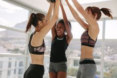 Smiling women having fun at fitness studio Royalty Free Stock Image