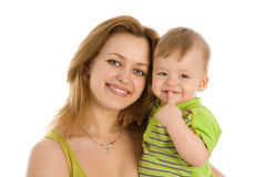 Smiling women with her little child Royalty Free Stock Images