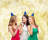 Smiling women holding glasses of sparkling wine Royalty Free Stock Image
