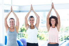 Smiling women with joined hands overhead Royalty Free Stock Images