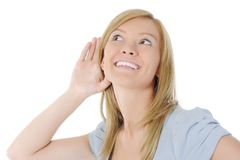 Smiling women listening news. Royalty Free Stock Photos