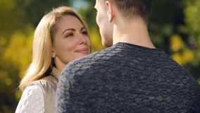 Smiling woman looking at beloved man, dating agency website, togetherness. Smiling women looking at beloved man, dating agency website, togetherness, stock photo royalty free stock image