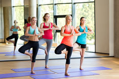 Smiling women meditating on mat in gym Royalty Free Stock Photo